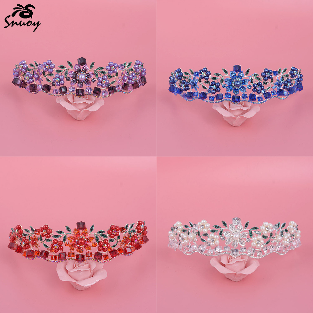 Snuoy 2018 Fashion Charming 4 Colors Flowers Wedding Crown Colorful Pearl Beaded Women Hair Accessories in Blue/Red/Purple/White