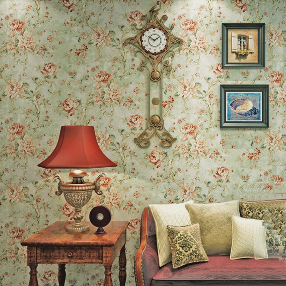 High quality American Style Vintage Wallpaper Bedroom Living Room ...