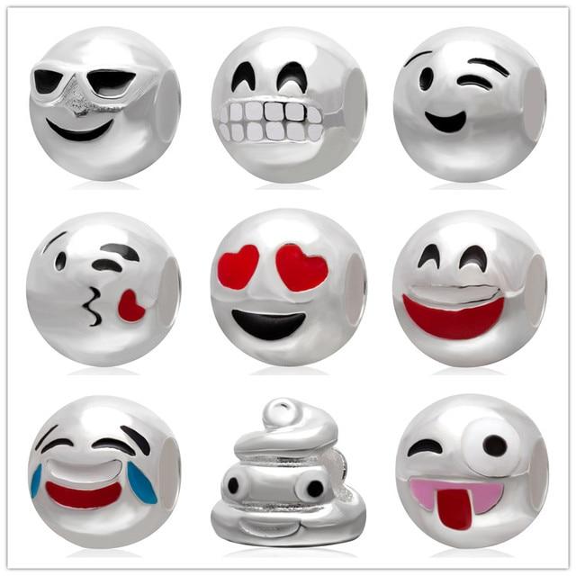 Милый подарок для друзей 925 серебро Смайлик смайлик выражение лица emoji шарик шарма Pandora DIY ювелирных Fit Браслеты
