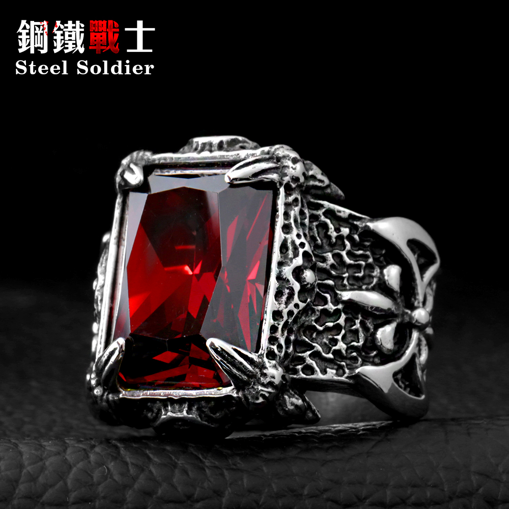 Steel soldier Man Punk Rings Vintage 316L STAINLESS Steel Red Gem Finger Ring With Stone Fashion Jewelry Hot Sale Item xiagao cool punk real 316l stainless steel red ring men s big red crystal red stones finger rings for man gothic casting ring