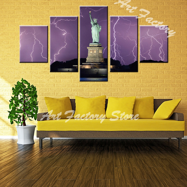 wholesale HD print 5 piece canvas painting Statue of Liberty ...