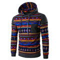 National Style Men Sweatshirts Hoodie Cotton Long Sleeve Mens Hoodie Pullovers Fashion Print Casual Sweatshirt Patchwork Hip Hop