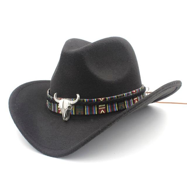 Western Faux Feutre Joueur Chapeau de cow-boy-noir Large//X-Large Taille 7 1//4-7 5//8