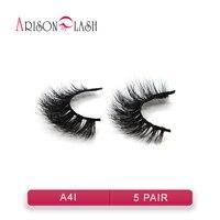 5 Pairs Lot Faux Mink Lashes Handmade False Eyelash 3D Strip Mink Eyelashes Thick Fake Faux