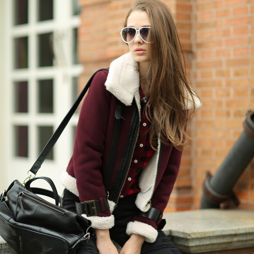 Veri Gude Women Suede Jacket Faux Leather Faux Fur Collar and Liner Winter Jacket Women contrast faux fur collar ripped detail jacket