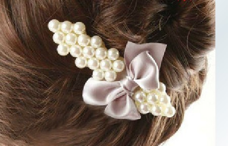 hair accessory hair pin elegant pearl hairpin bow duckbill clip accessories