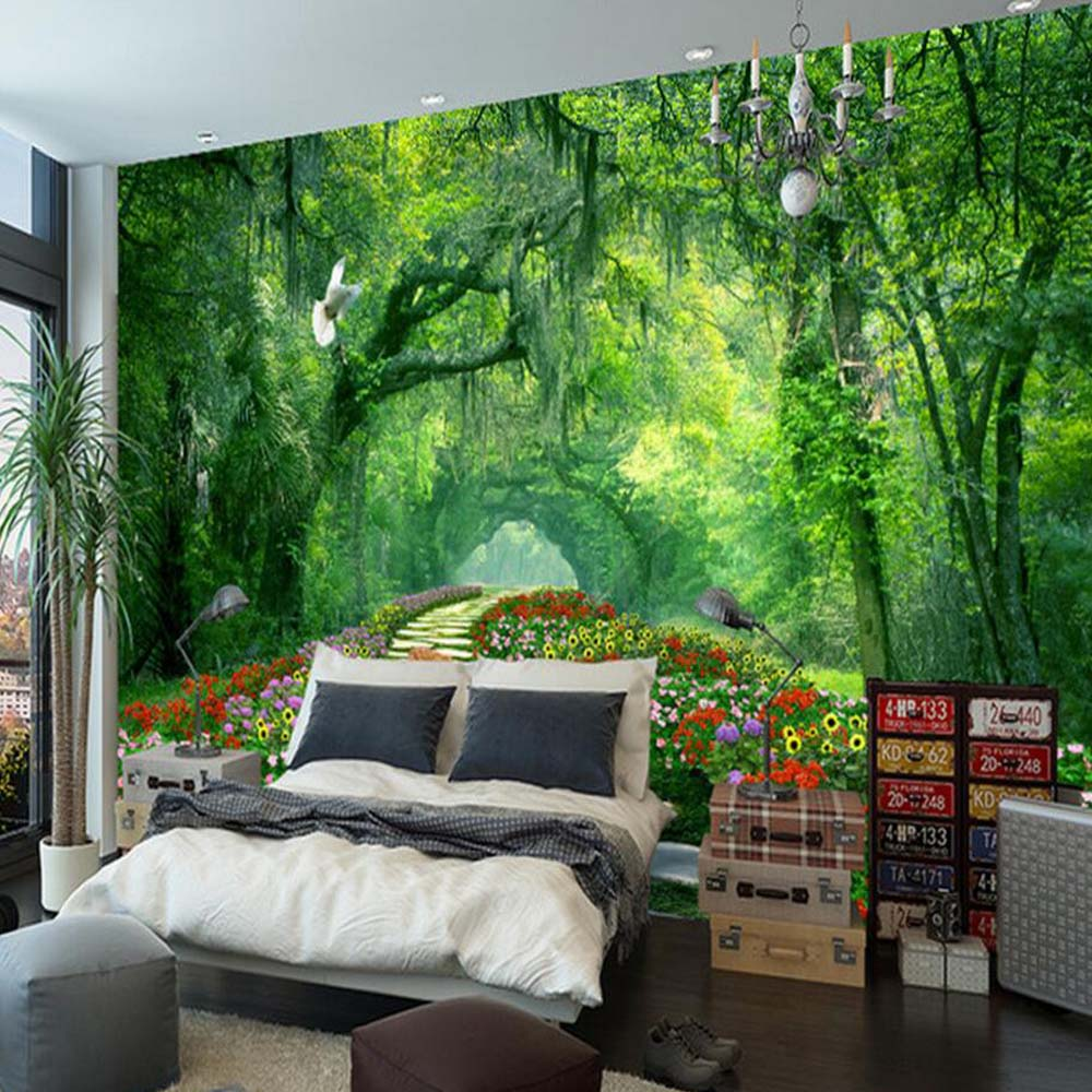 Photo Wallpaper For Walls Aliexpress  Buy Nature Tree 3D Landscape Mural Photo