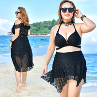 3XL 6XL Big Cup Plus Size Swimwear High Waist Bikini Halter Top Black Sexy Swimsuit Lace