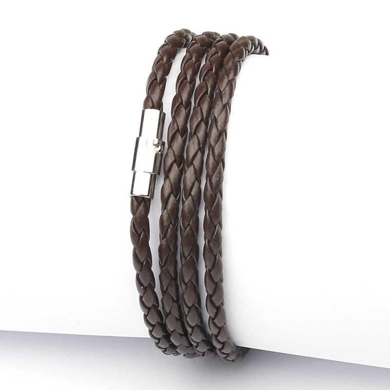 NIUYITID magnetyczne bransoleta dla mężczyzn akcesoria ręcznie dzianiny pleciony PU skórzana lina bransoletki biżuteria męska opaska na ramię mężczyźni