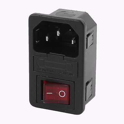 AC 250V 10A 4 Terminals Red LED Rocker Switch Inlet Power Socket w Fuse Holder 660v ui 10a ith 8 terminals rotary cam universal changeover combination switch
