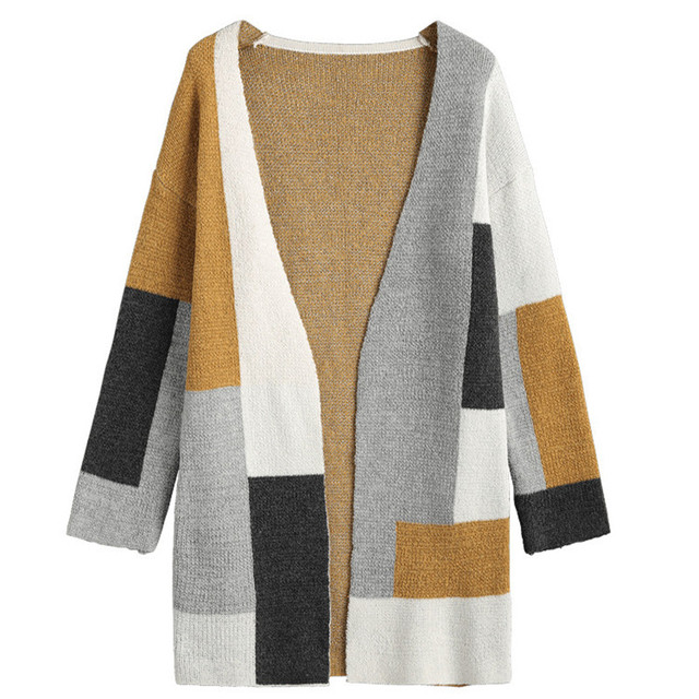 111b2f001fb Danjeaner Women Casual Contrast Color Long Cardigans Autumn Winter Fashion  Loose Knitted Plus Size Sweaters Women Tops Jumper