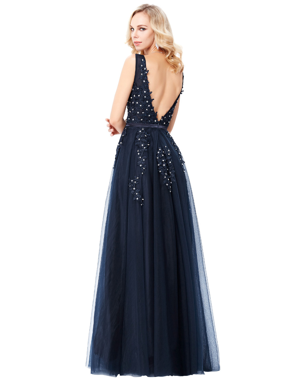 Grace Karin Tulle Appliques Celebrity Prom Dress Sexy V Back Sleeveless Long Royal Blue Robes De Soiree 2017 Longue Prom Dresses 14