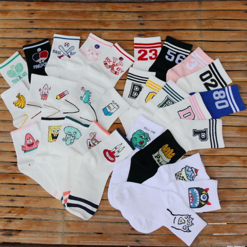 KHKF Ladies   Socks   Harajuku Korea Japanese Cotton Sponge Baby Party Big Star Smiley Letters Fun Pattern Embroidery Student   Socks