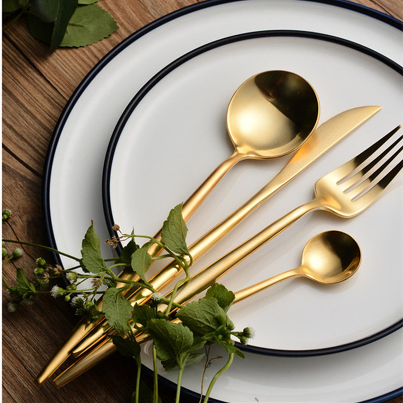 24pcs KuBac Hommi Golden Top Quality 18/10 Stainless Steel Knife Fork Party Cutlery Set Gold Dinnerware Set Drop Shipping