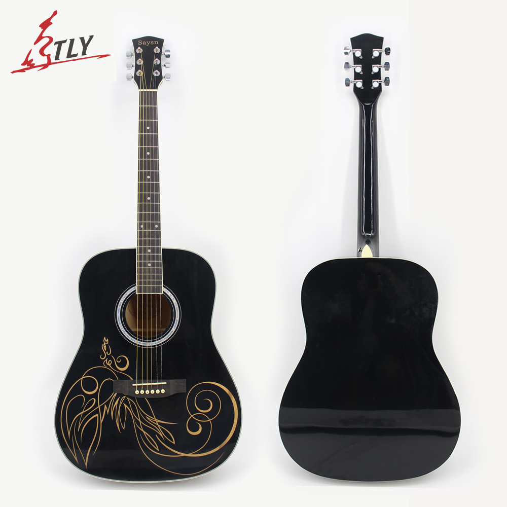SAYSN 41 Basswood Acoustic Guitar Rosewood Fingerboard Painted Phoenix 6 Strings Black Guitarra w/ Backpack Capo Strap Strings spruce top sapele back and side rosewood fingerboard acoustic guitar 34 acoustic guitarra free shipping