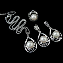 HENSEN Vintage Plateado Joyería de Moda Ahueca Hacia Fuera La Gota de Agua Con la Perla de Imitación set de Joyas Para Las Mujeres
