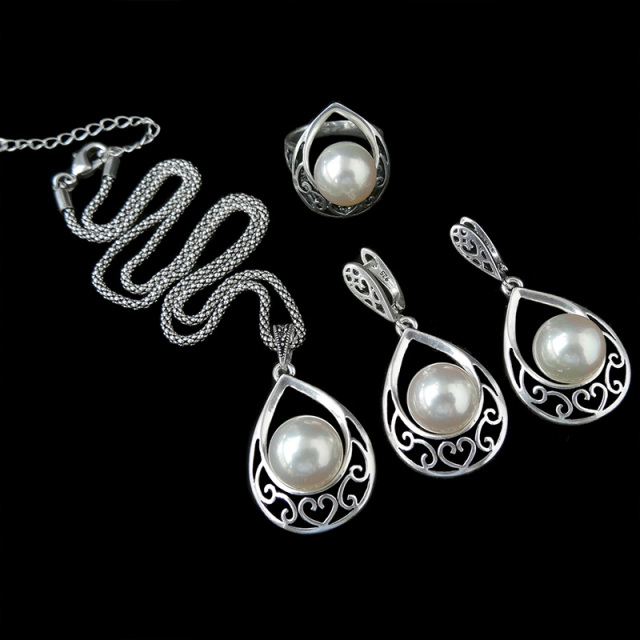 HENSEN Vintage Silver Plated Jewellery Fashion Hollow Out Water Drop With Imitation Pearl Jewelry Sets For Women
