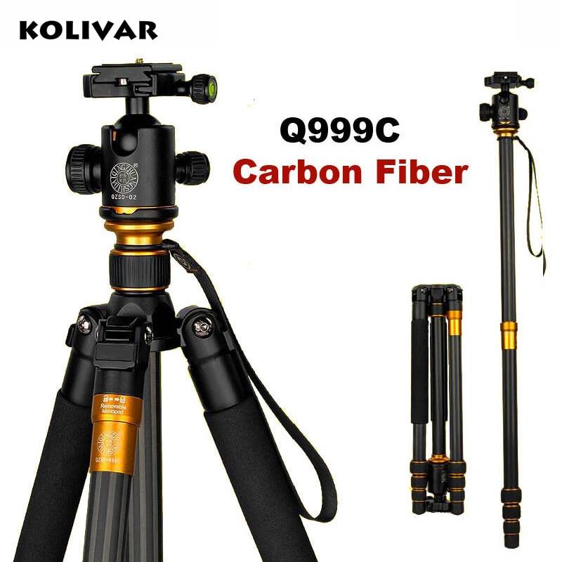 KOLIVAR QZSD Q999C Professional Carbon Fiber Monopod Ball Head For DSLR Camera / Portable Compact Travel Tripod / Camera Stand
