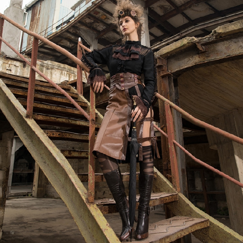Vintage Punk longue jupe femmes ligne a PU cuir ceinture jupe café SP214CF