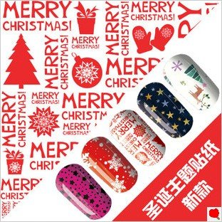 Free shipping merry christmas nail art wraps sticker foils cover ...