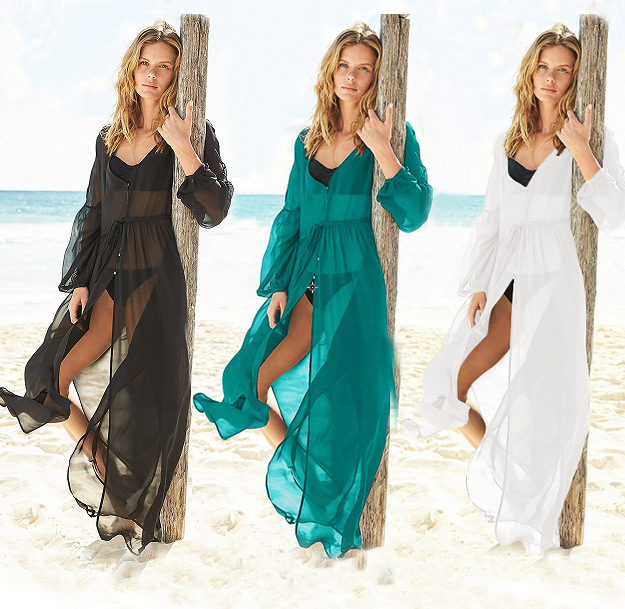 Pareo Beach Tunic Swimwear For Women's Cover Up Swimsuit Women Dress Sarongs Buckles Chiffon Female Clothes Solid Acetate FMZXG