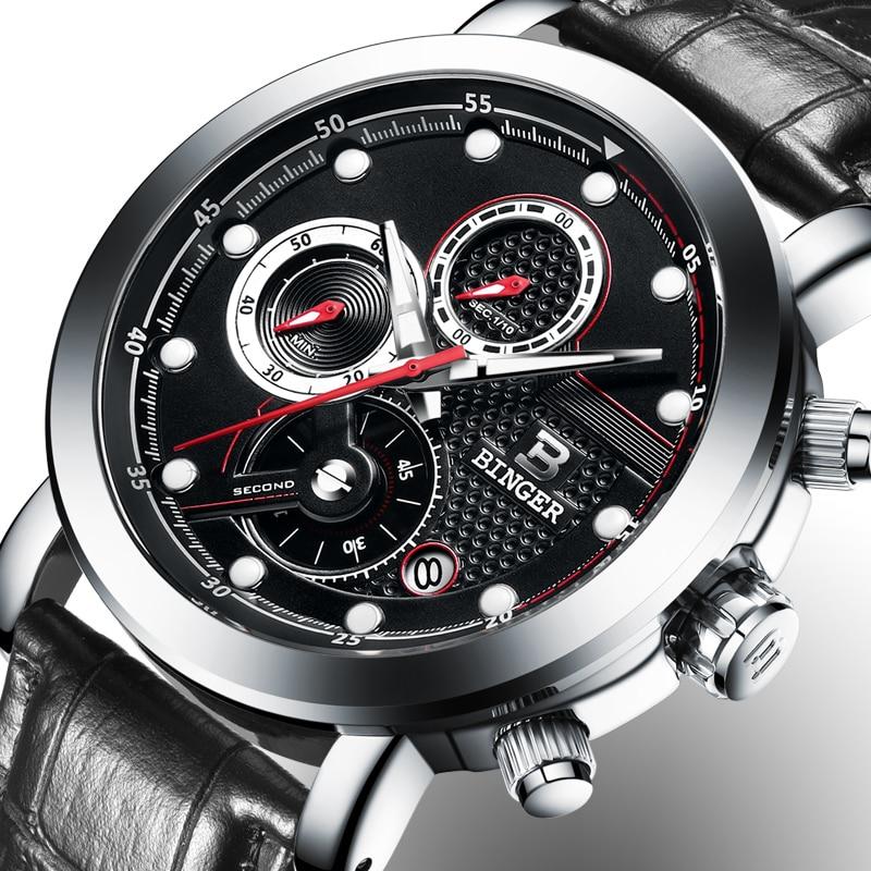 Relogio Masculino BINGER Mens Watches Top Brand Luxury Chronograph Quartz Watch Men Luminous Male Clock reloj hombre B-9017M6 charles hubert paris mens quartz watch 3771 b