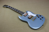 Custom Shop sg electric guitar metal RETRO BLUE color mahogany body gold hardware,sg custom guitar high quality real guitar pics