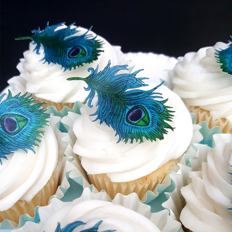 PRE-CUT BEAUTIFUL PEACOCK EDIBLE WAFER PAPER CUP CAKE TOPPERS PARTY DECORATIONS