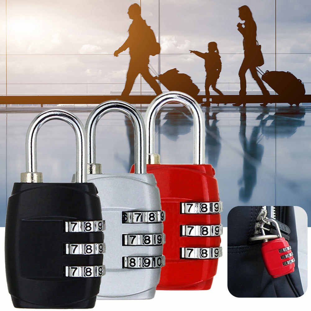 3 Dial Digit Password Combination Padlock Suitcase Luggage Metal Code Lock Mini Coded Keyed Anti-Theft Locks Cijfersloten