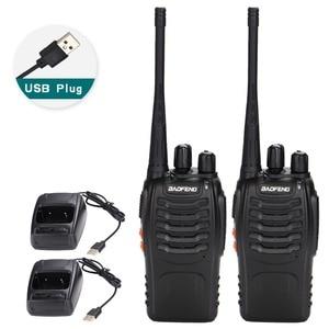 Image 1 - 2 قطعة Baofeng BF 888S لاسلكي تخاطب USB محول للشحن راديو محمول CB راديو UHF 888S Comunicador الإرسال والاستقبال 2 سماعة