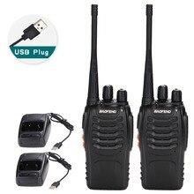 2 Stuks Baofeng BF 888S Walkie Talkie Usb Charge Adapter Draagbare Radio Cb Radio Uhf 888S Comunicador Transceiver + 2 hoofdtelefoon