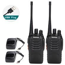 2 sztuk Baofeng BF 888S Walkie Talkie USB Adapter do ładowarki Radio przenośne CB Radio UHF 888S Comunicador Transceiver + 2 słuchawki