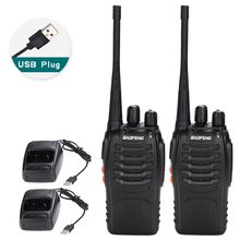 BF-888S 2Pcs Baofeng Walkie Talkie Adaptador de Carga USB Portátil Rádio CB Rádio Transceptor UHF 888S Comunicador + 2 fone de ouvido