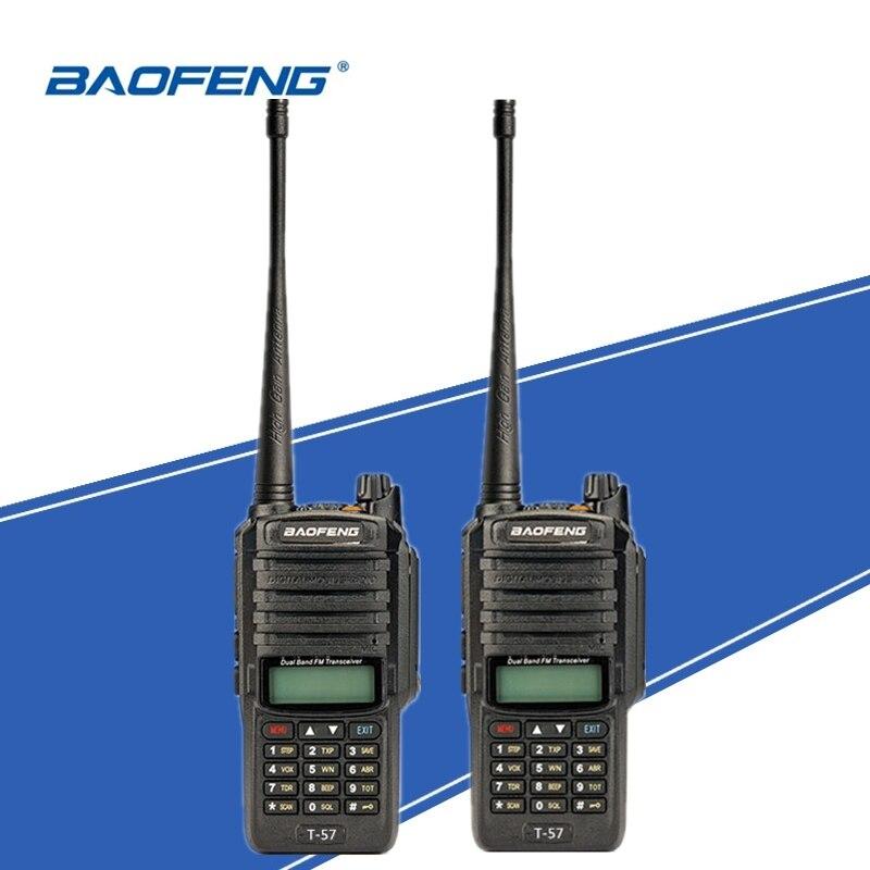 טלוויזיות 25 29 2pcs Baofeng T-57 ימית אינטרקום IP67 Waterproof מכשיר הקשר Ham שני הדרך רדיו במקלט נייד UV-9R ציד Woki טוקי (1)