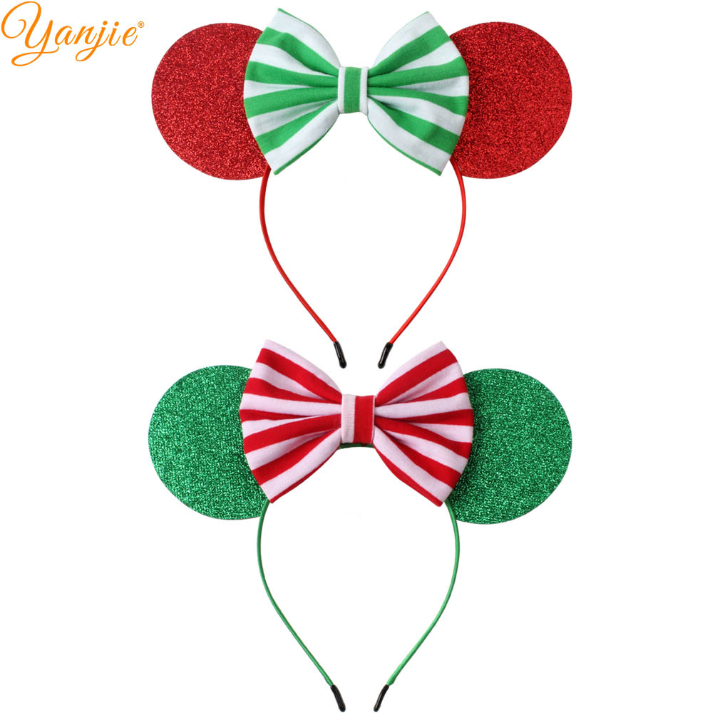 Christmas Minnie Ears 2019.Us 21 29 31 Off 12pc Lot Festival Glitter Minnie Mouse Ears Headband 2019 Christmas Red Green Stripe Bow Hairband For Girls Diy Hair Accessories In
