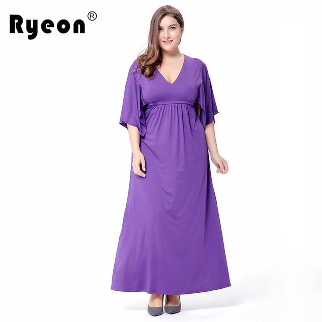 352c8b98d5d Ryeon Long Maxi Dress Plus Size Summer Autumn Tunic Floor Length Dress Sexy  V Neck Flare Short Sleeve Vintage Dress 6xl 50s 60s