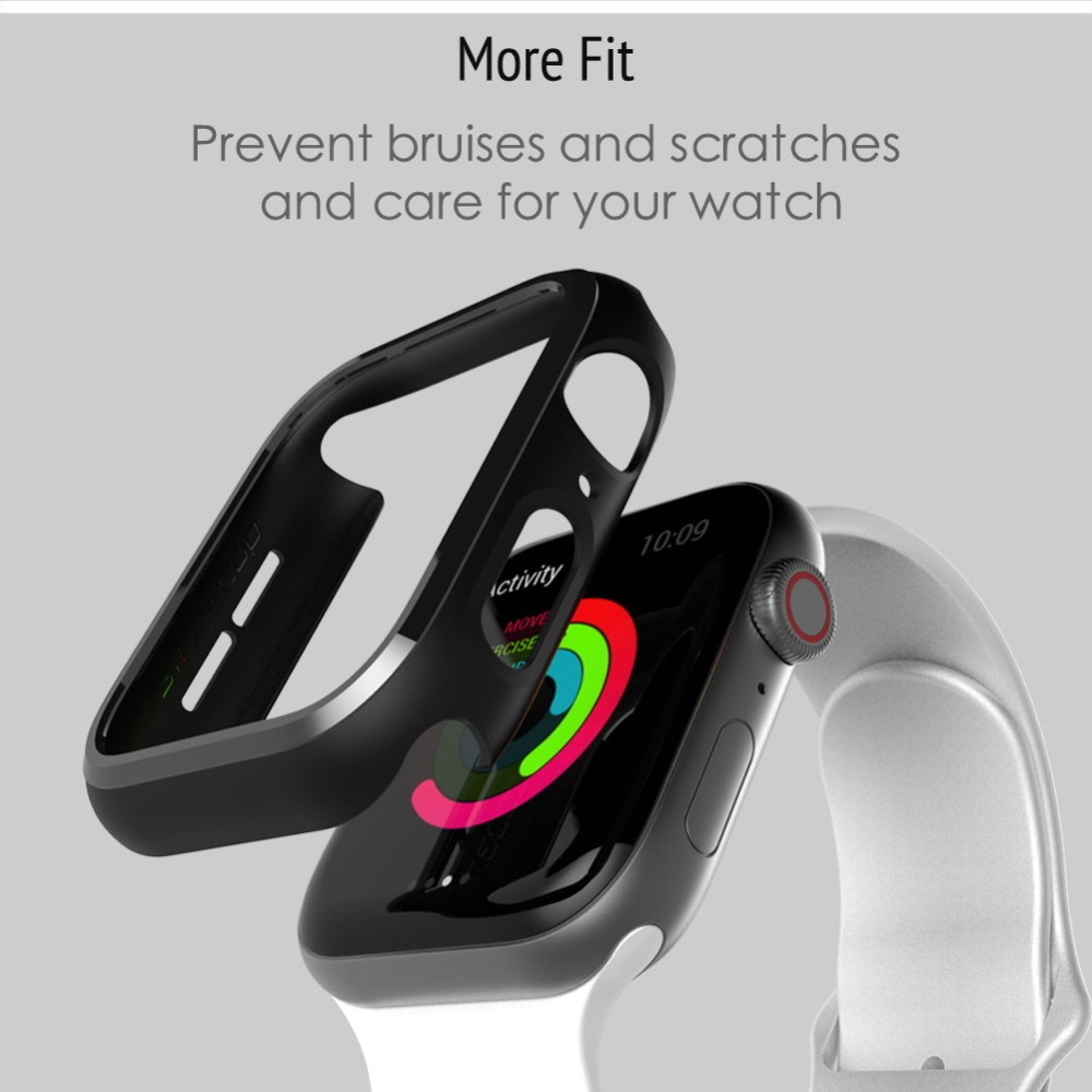 Bumper For Apple Watch Series 1 2 3 4 5 PC Case Slim Fit Case For IWatch Thin Protector Plastic Black Frame 40 44 38 42 Mm Band