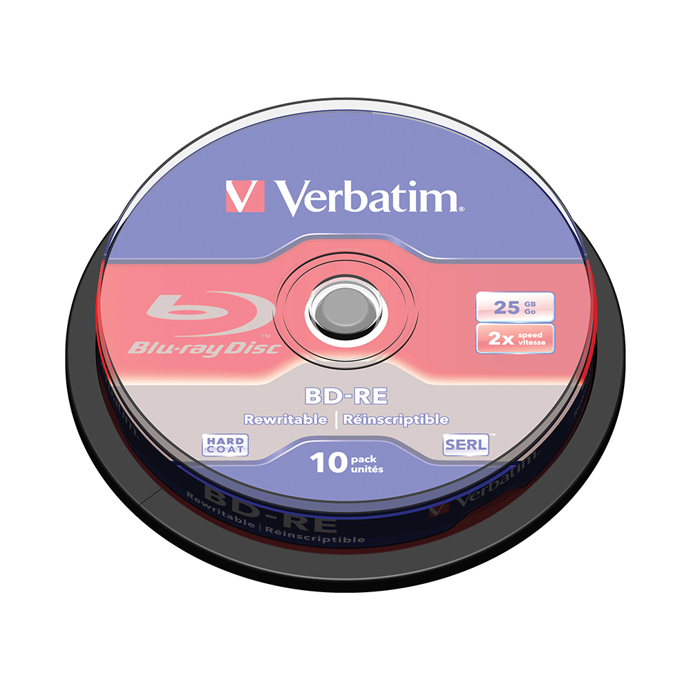 Verbatim Spindle Media-Disc Compact-Data-Storage BD-RE Blu-Ray Printable White 25GB 10 title=