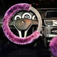 Winter Plush Fur Car Steering Wheel Cover Cute For 95 Car Styling Rhinestone Decorations Women Girls