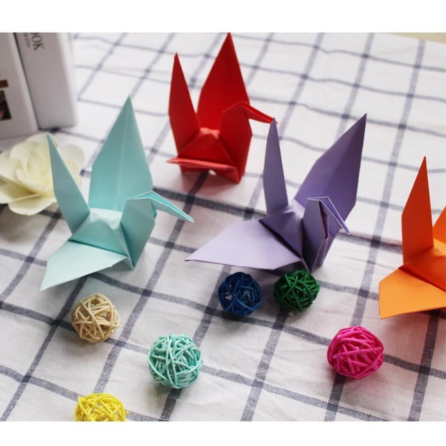 50Pieces Handmade Paper Crane Wedding Decoration Birthday Party DIY Decorations Engagement Colours Origami Supplies