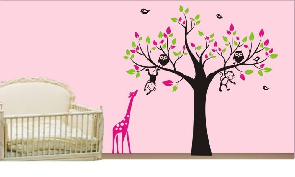 . OWL Tree MONKEY giraffe Removable Wall Art Stickers Kids Nursery Vinyl  Decal DIY Large Tree Wall Stickers For Kids Room D831