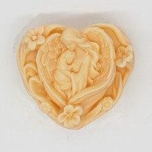 Форма для мыла ручной работы в форме сердца, силиконовая форма, форма для торта, матери и ребенка, любимая, ремесло, свечи, формы для торта