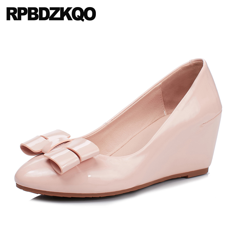 Bow Size 4 34 China Pink Pumps Women High Heels Cute Medium White Wedge Shoes Sweet New Patent Leather Kawaii Pointed Toe 2018 fashion pumps elegant metal size 4 34 women medium square toe female chunky wine red patent leather shoes new 33 modern china