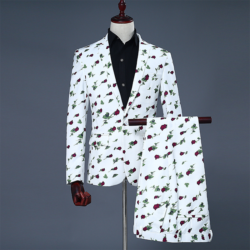 Mens White Rose Print Blazer Jacket Wedding Groom Prom Tuxedo Suits Men Business Casual Mens Suits With Pants Terno Masculino