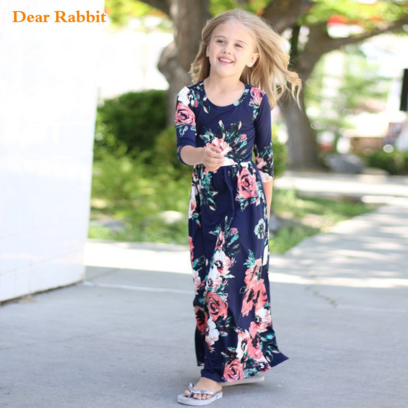 Long Dress Fashion Trend Bohemian Dress for Girls Beach Tunic Floral Autumn Maxi Dresses Kids Party Princess Dresses vestidos long dress new fashion trend bohemian dress for girls beach tunic floral beach maxi dresses kids birthday party princess dresses
