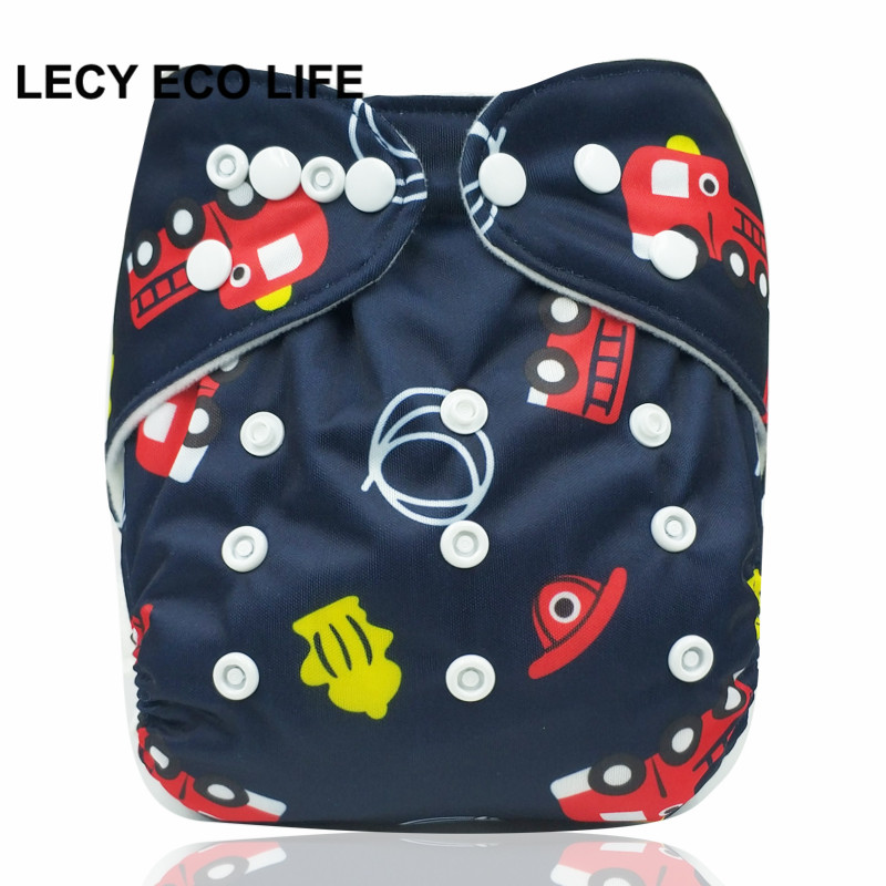 LECY ECO LIFE One size baby reusable cloth diaper, breathable baby nappy with double rows snap button, adjustable size nappies