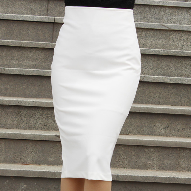 Basic Knit Pencil Skirt Sleak Stretch Tight Fitted Below Knee ...