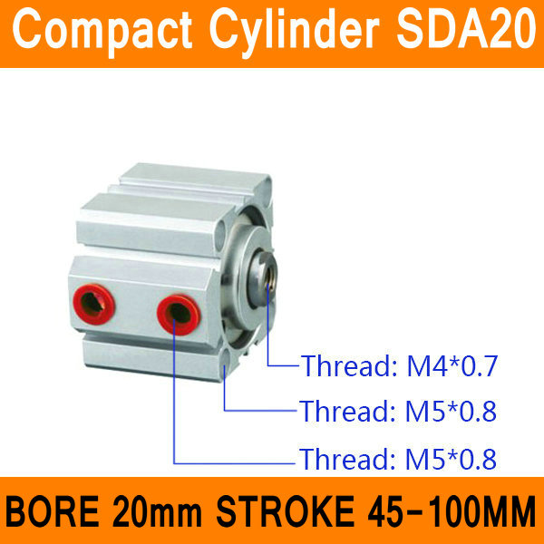 SDA20 Cylinder SDA Series Bore 20mm Stroke 45-100mm Compact Air Cylinders Dual Action Air Pneumatic Cylinder Top Grade cxsm10 10 cxsm10 20 cxsm10 25 smc dual rod cylinder basic type pneumatic component air tools cxsm series lots of stock