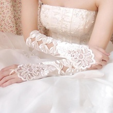 2019 White/Ivory Wedding Gloves for Bride Fingerless Lace With Bow Bridal Party  Dance Elbow Length Long