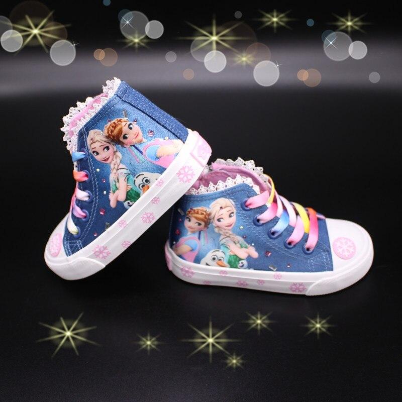Fashion Beauty Children's Shoes New Girls Shoes 2018 Elsa Anna Princess Cartoon Running Flat Kids Sneaker For Girl Boots Snow